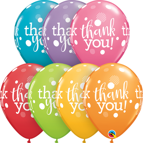 "11"" Round Festive Assorted Thank You Dots Upon Dots #49687 - Pack of 50"