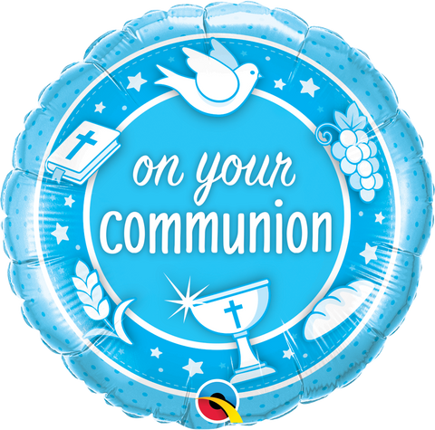 "18"" Round Foil On Your Communion Blue #49740 - Each (Unpkgd.)"