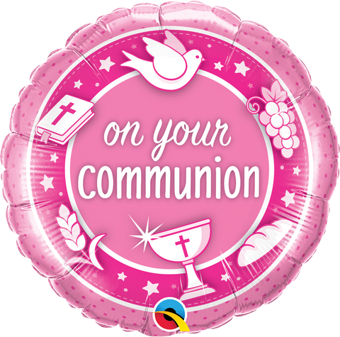 "18"" Round Foil On Your Communion Pink #49748 - Each (Unpkgd.)"