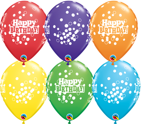 "11"" Round Bright Rainbow Assorted Bday Confetti Dots #49852 - Pack of 50"
