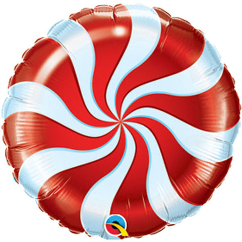"09"" Round Foil Candy Swirl Red #50989 - Each (Unpkgd.)"