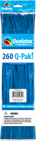 260 Q-Pak Dark Blue Qualatex Plain Latex #54612 - Pack of 50