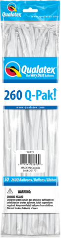 260 Q-Pak White Qualatex Plain Latex #54653 - Pack of 50