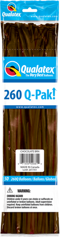 260 Q-Pak Chocolate Brown Qualatex Plain Latex #54661 - Pack of 50