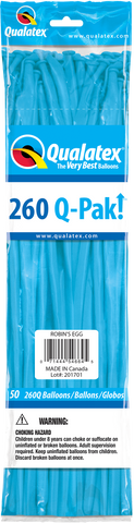 260 Q-Pak Robin's Egg Blue Qualatex Plain Latex #54664 - Pack of 50