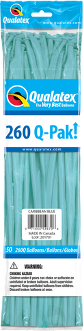260 Q-Pak Caribbean Blue Qualatex Plain Latex #54670 - Pack of 50