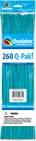 260 Q-Pak Tropical Teal Qualatex Plain Latex #54681 - Pack of 50