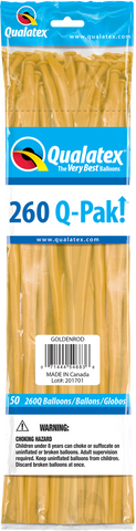 260 Q-Pak Goldenrod Qualatex Plain Latex #54683 - Pack of 50