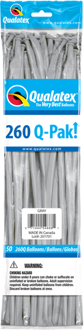260 Q-Pak Gray Qualatex Plain Latex #54688 - Pack of 50