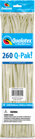 260 Q-Pak Diamond Clear Qualatex Plain Latex #54691 - Pack of 50