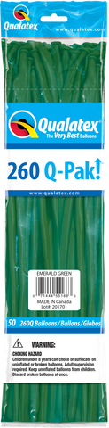 260 Q-Pak Emeral Green Qualatex Plain Latex #55166 - Pack of 50