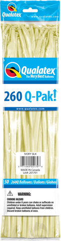 260 Q-Pak Ivory Silk Qualatex Plain Latex #55174 - Pack of 50