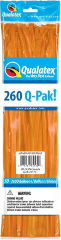 260 Q-Pak Mandarin Orange Qualatex Plain Latex #55192 - Pack of 50