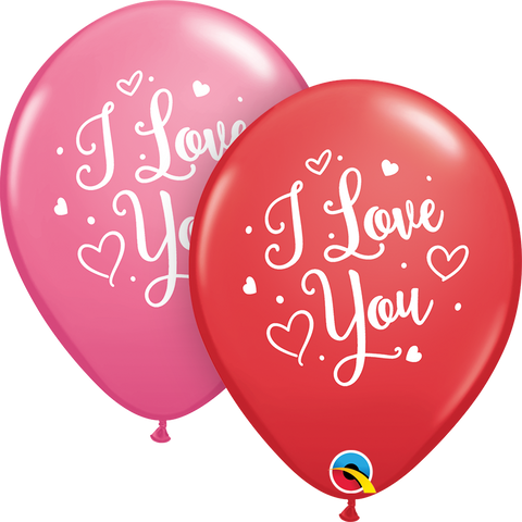 "11"" Round Assorted Red & Rose I Love You Hearts Script #55246 - Pack of 50"