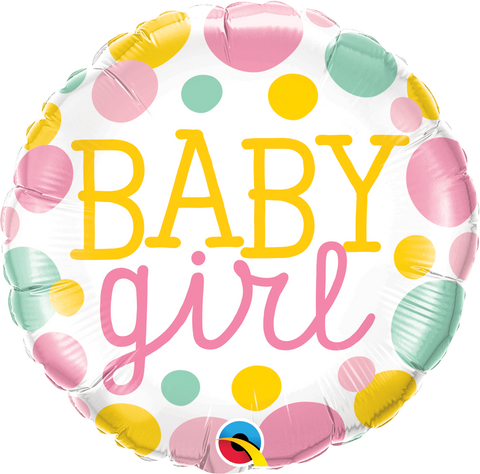 "18""  Round Foil Baby Girl Dots #55388 - Each (Pkgd.)"
