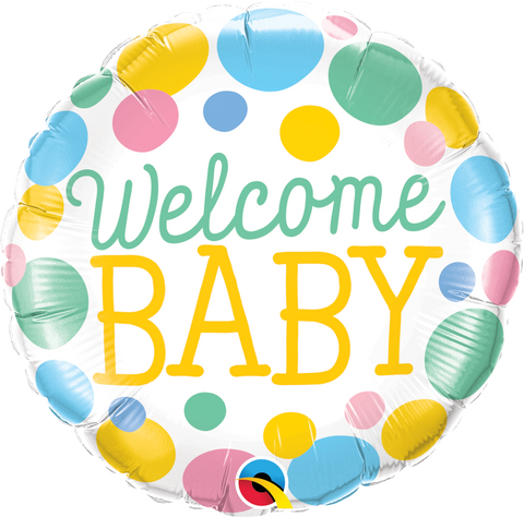 "18""  Round Foil Welcome Baby Dots #55391 - Each (Pkgd.)"