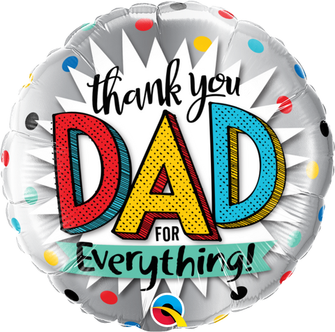 "18"" Round Foil Thank You Dad For Everything #55818 - Each (Pkgd.)"