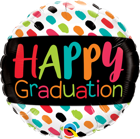 "09"" Round Foil Happy Graduation Color Dabs #73676 - Each (Pkgd.)"