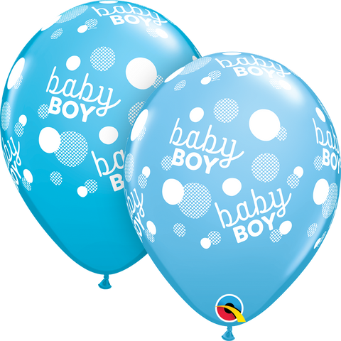 "11"" Round Pale Blue & Robin's Egg Baby Boy Blue Dots-A-Round #55890 - Pack of 50"
