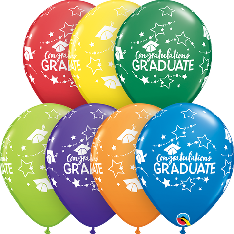 "11"" Round Carnival Assorted Congratulations Graduate Stars #57109 - Pack of 50"