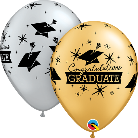 "11"" Round Silver & Gold Congratulations Graduate Cap #57110 - Pack of 50"