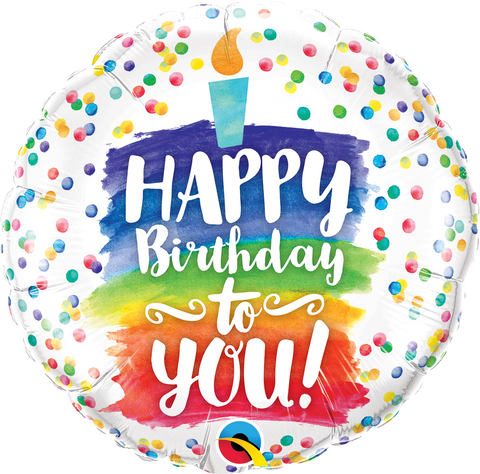 "09"" Round Foil Happy Birthday To You Rainbow Cake #58429 - Each (Unpkgd.)"