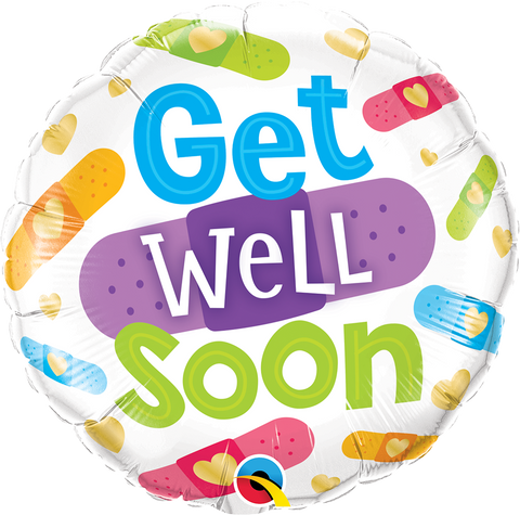 "18"" Round Foil Get Well Soon Bandages #57304 - Each (Pkgd.)"