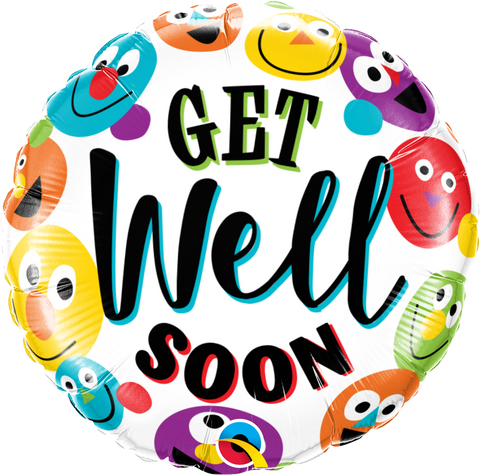 "18"" Round Foil Get Well Soon Smileys #57307 - Each (Pkgd.)"