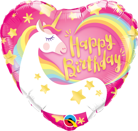 "09"" Heart Foil Birthday Magical Unicorn #58395 - Each (Unpkgd.)"