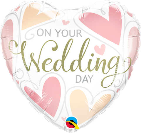 "18"" Heart Foil On Your Wedding Day #57325 - Each (Pkgd.)"