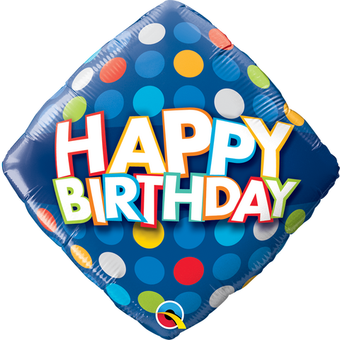 "18"" Diamond Foil Birthday Blue & Colorful Dots #57331 - Each (Pkgd.)"