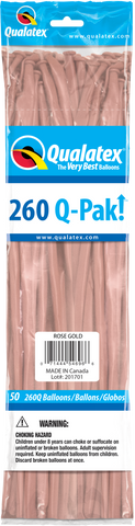 260 Q-Pak Rose Gold Qualatex Plain Latex #57346 - Pack of 50