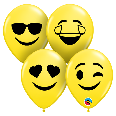 "05"" Round Yellow Smiley Faces Assortment (Black) #57961 - Pack of 100"