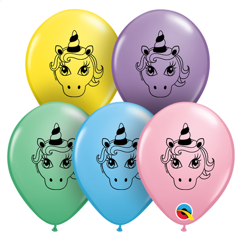 "05"" Round Pastel Assortment Unicorn Head #57992 - Pack of 100"