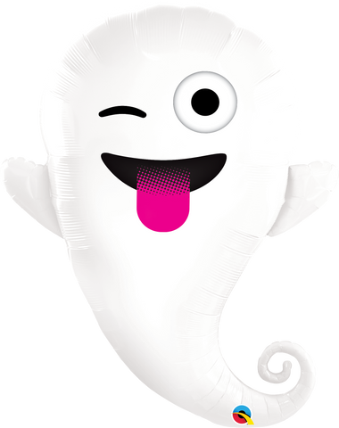 "34"" Shape Foil Emoticon Ghost SW #58145 - Each (pkgd.)"