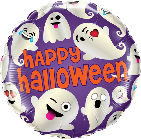 "18"" Round Foil Halloween Emoticon Ghosts #58153 - Each (Pkgd.)"