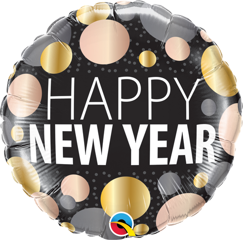 "18"" Round Foil New Year Metallic Dots #58163 - Each (Pkgd.)"