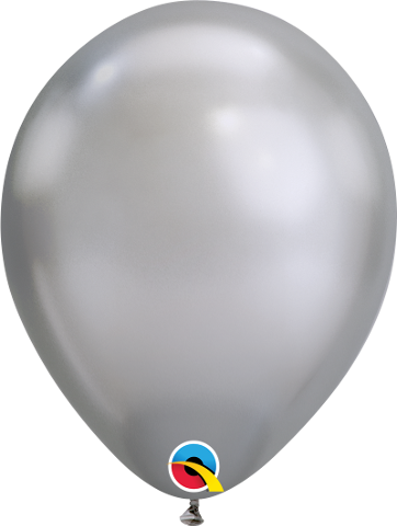 "07"" Round Chrome Silver Qualatex Plain Latex #85109 - Pack of 100"