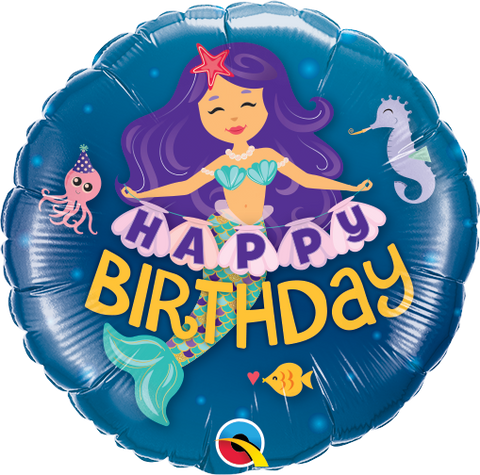 "09"" Round Foil Happy Birthday Mermaid #58437 - Each (Unpkgd.)"