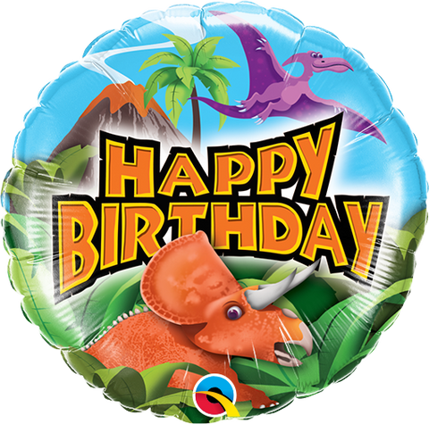 "09"" Round Foil Holographic Birthday Dinosaurs #58448 - Each (Unpkgd.)"