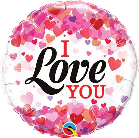 "09"" Round I Love You Confetti Hearts #58570 - Each (Unpkgd.)"