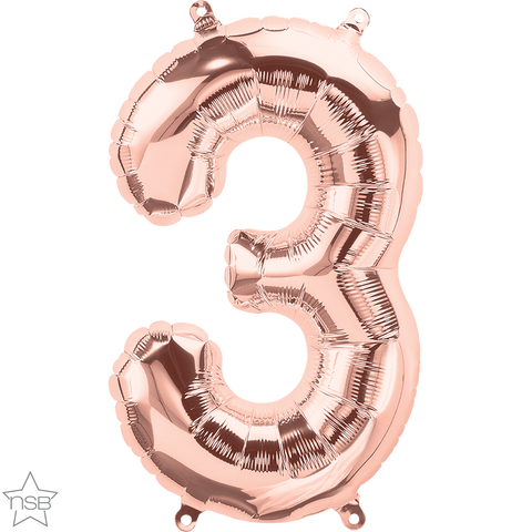 "16"" Number Foil Number Three Rose Gold #59107 - Each (Pkgd.)"