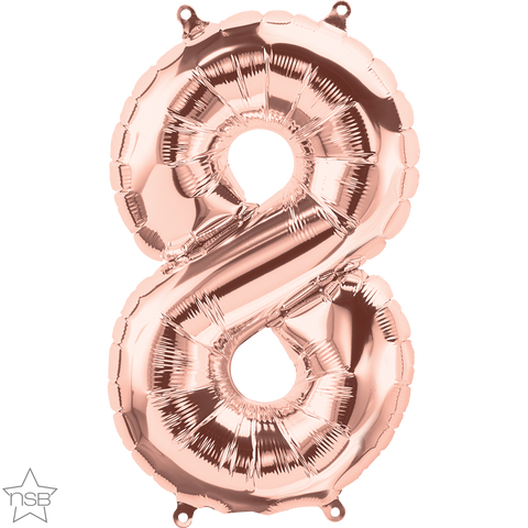 "16"" Number Foil Number Eight Rose Gold #59117 - Each (Pkgd.)"