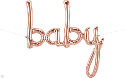 "46"" Script Foil Baby Rose Gold #59834 - Each (Pkgd.)"