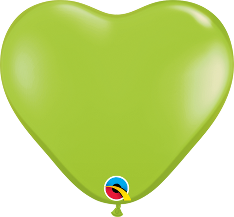 "06"" Heart Lime Green Qualatex Plain Latex #62590 - Pack Of 100"