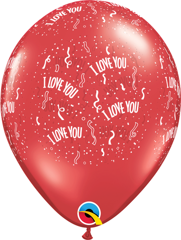 "11"" Round Ruby Red I Love You-A-Round #76775 - Pack of 50"
