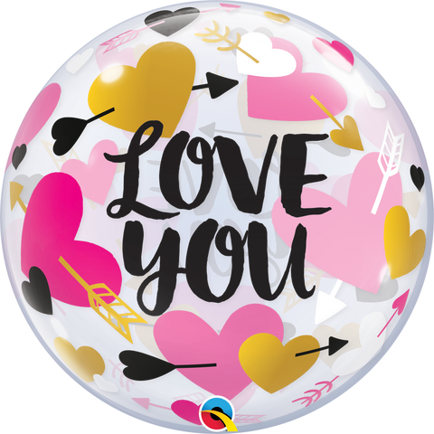 "22"" Single Bubble Love You Hearts & Arrows #78457 - Each"