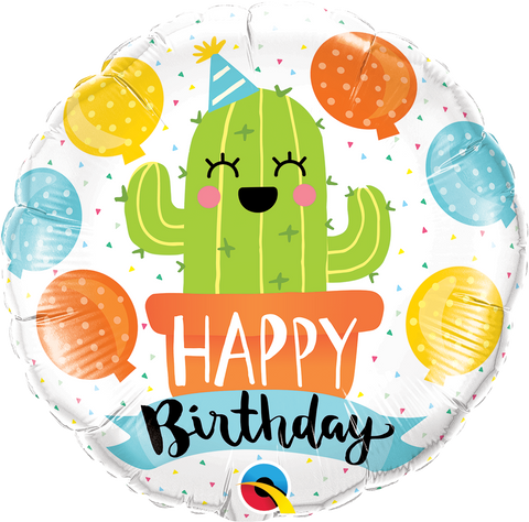 "18"" Round Foil Bday Party Cactus #78664 - Each (Pkgd.)"