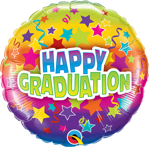 "09"" Round Foil Graduation Colorful Stars #78768 - Each (Pkgd.)"