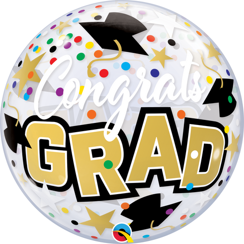 "22""  Single Bubble Congrats Grad Stars & Dots #82523 - Each (Pkgd.)"